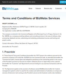 BizWebs Terms